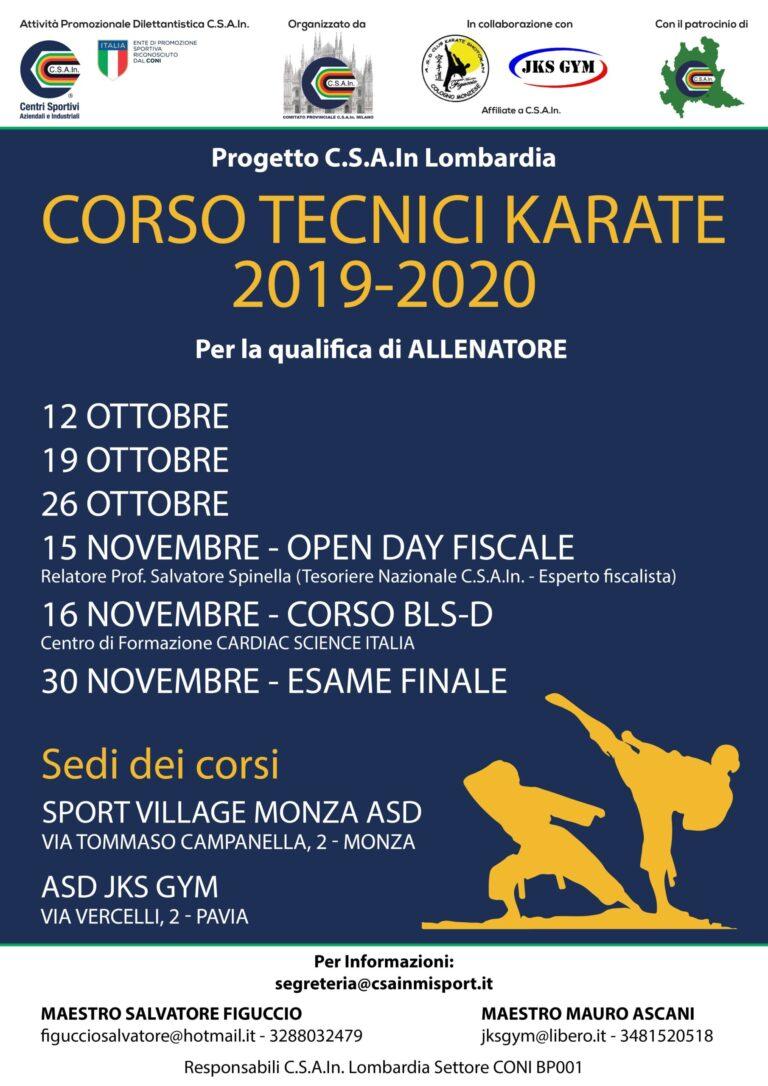 CORSO DI FORMAZIONE TECNICI KARATE 2019-2020