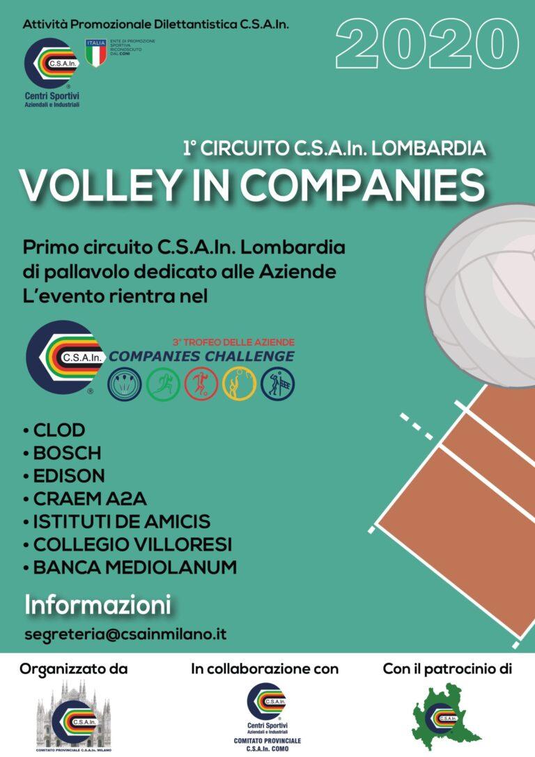 CSAIN LOMBARDIA VOLLEY IN COMPANIES, 1 circuito dedicato alle aziende rientrante del 3 trofeo dell aziende CSAIn Companies Challenge