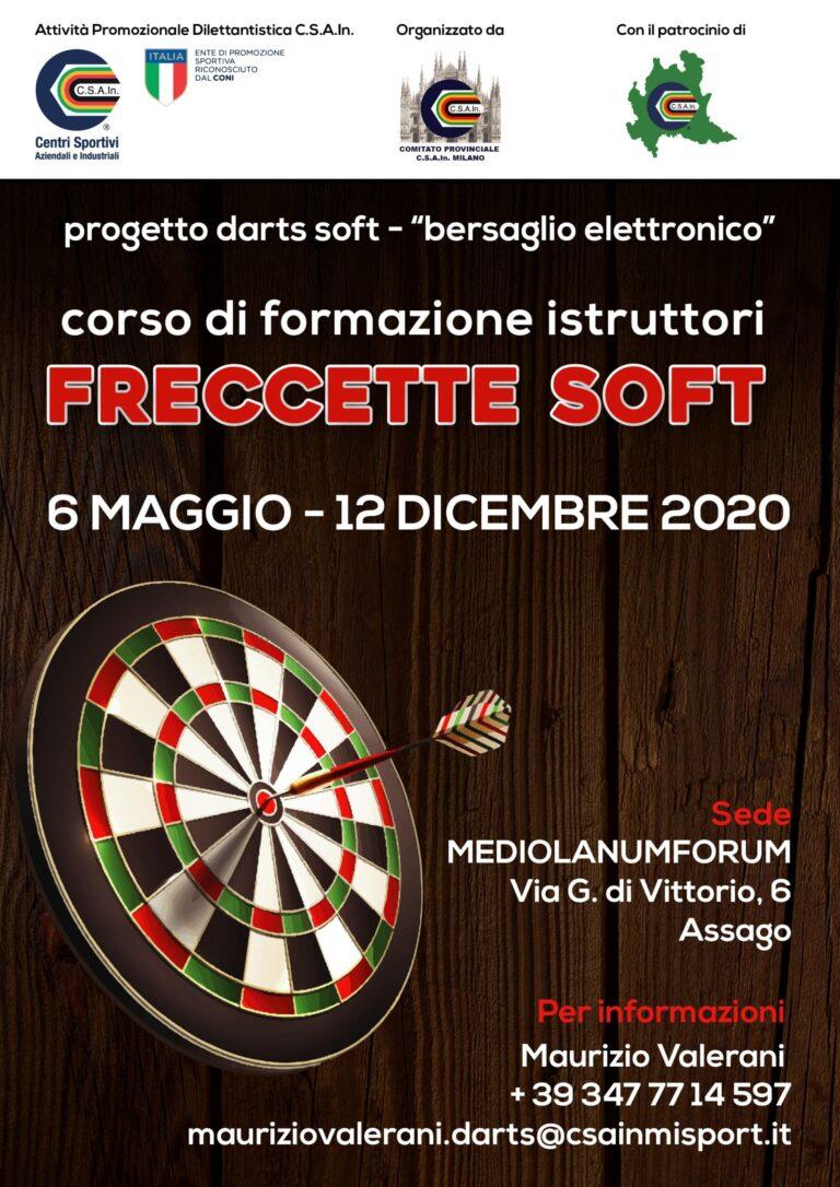 Corso CSAIn di formazione istruttori freccette soft, dal 6 maggio al 12 dicembre 2020 presso il mediolanum forum di Assago (MI)